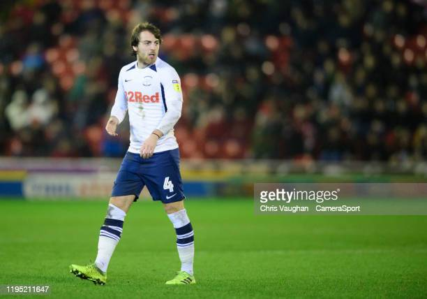 Preston North End's Ben Pearson during the Sky Bet Championship match between Barnsley and Preston North End at Oakwell Stadium on January 21 2020 in...