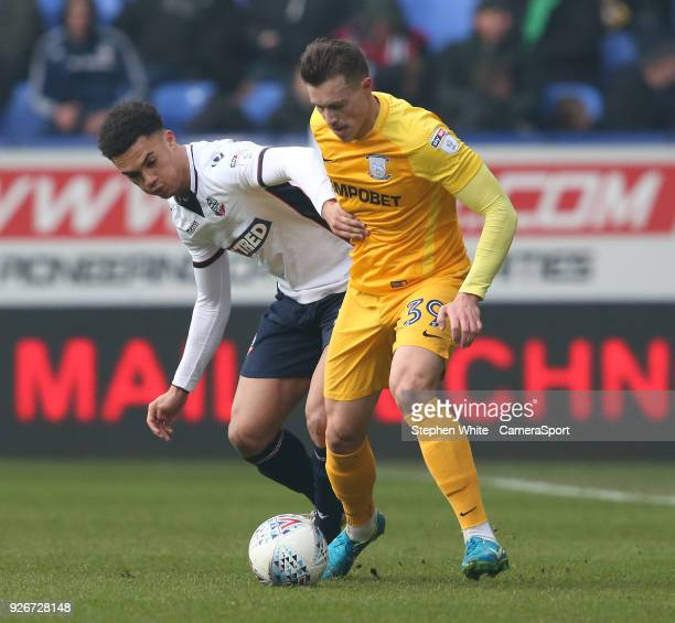 Preston North End's Billy Bodin and Bolton Wanderers' Antonee Robinson during the Sky Bet Championship match between Bolton Wanderers and Preston...