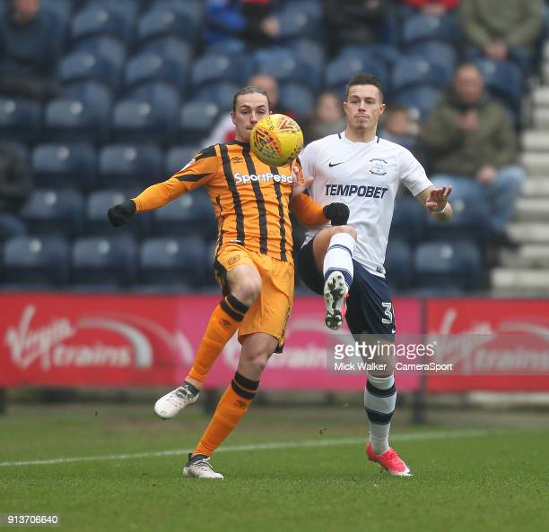 Preston North End's Billy Bodin battles with Hull City's Jackson Irvine during the Sky Bet Championship match between Preston North End and Hull City...
