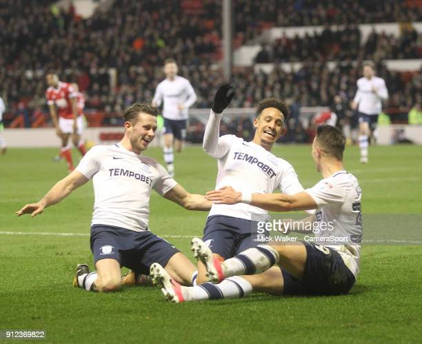 Preston North End's Billy Bodin celebrates scoring his sides first goal during the Sky Bet Championship match between Nottingham Forest and Preston...