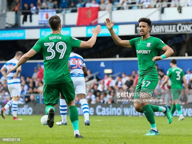 Preston North End's Billy Bodin celebrates with goal scorer Callum Robinson during the Sky Bet Championship match between Queens Park Rangers and...