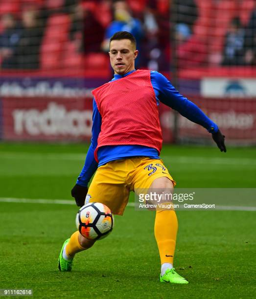 Preston North End's Billy Bodin during the prematch warmup prior to the The Emirates FA Cup Fourth Round match between Sheffield United and Preston...
