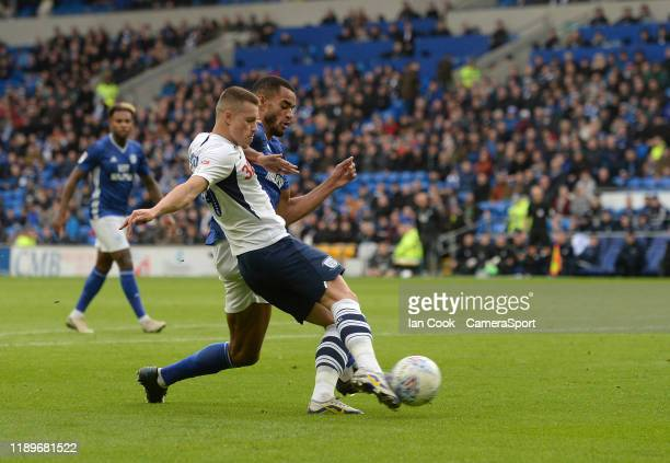 Preston North End's Billy Bodin has a shot at goal during the Sky Bet Championship match between Cardiff City and Preston North End at Cardiff City...