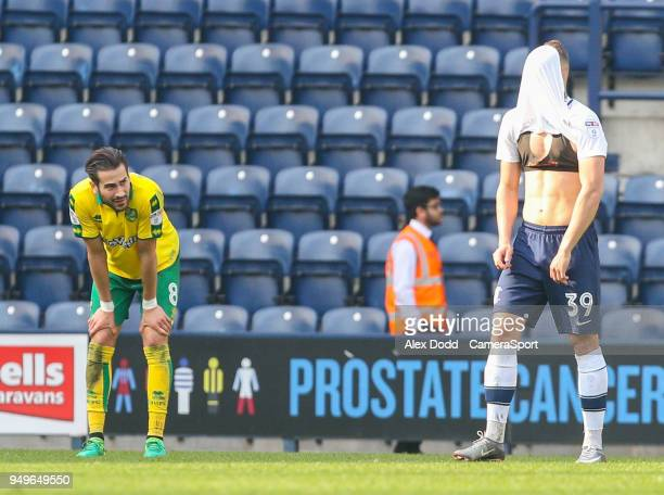 Preston North End's Billy Bodin reacts at the final whistle during the Sky Bet Championship match between Preston North End and Norwich City at...