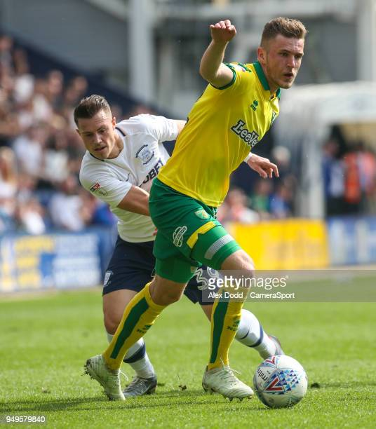 Preston North End's Billy Bodin vies for possession with Norwich City's Dennis Srbeny during the Sky Bet Championship match between Preston North End...