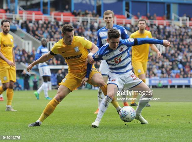 Preston North End's Billy Bodin vies for possession with Reading's Liam Kelly during the Sky Bet Championship match between Reading and Preston North...
