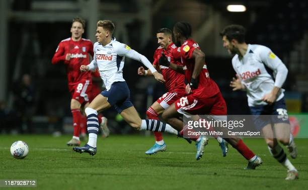 Preston North End's Brad Potts during the Sky Bet Championship match between Preston North End and Fulham at Deepdale on December 10, 2019 in...