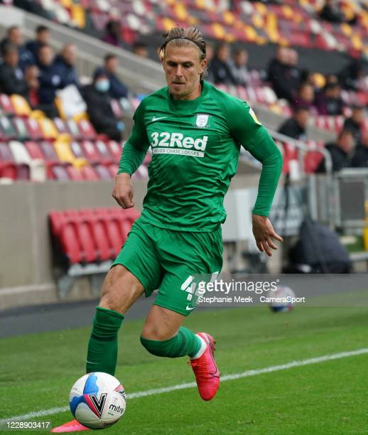 Preston North End's Brad Potts during the Sky Bet Championship match between Brentford and Preston North End at Brentford Community Stadium on...
