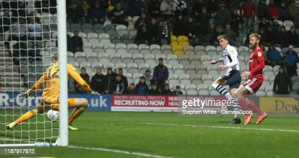 Preston North End's Brad Potts sees his shot saved by Fulham's goalkeeper Marek Rodak during the Sky Bet Championship match between Preston North End...