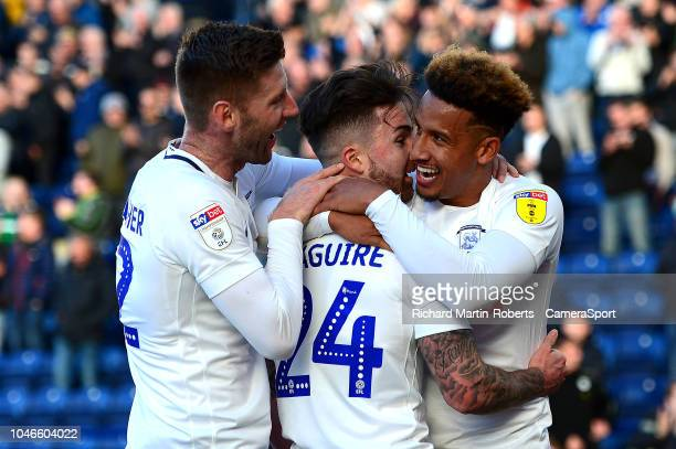 Preston North End's Callum Robinson celebrates scoring his side's fourth goal with teammates Paul Gallagher and Sean Maguire during the Sky Bet...