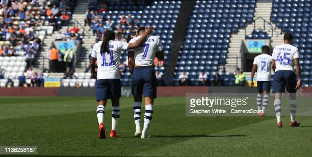 Preston North End's Callum Robinson celebrates scoring his side's second goal with team-mate Daniel Johnson during the Sky Bet Championship match...