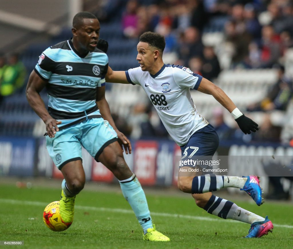 Preston North End's Callum Robinson goes past Queens Park Rangers' Nedum Onuoha during the Sky Bet Championship match between Preston North End and Queens Park Rangers at Deepdale on February 25, 2017 in Preston, England.