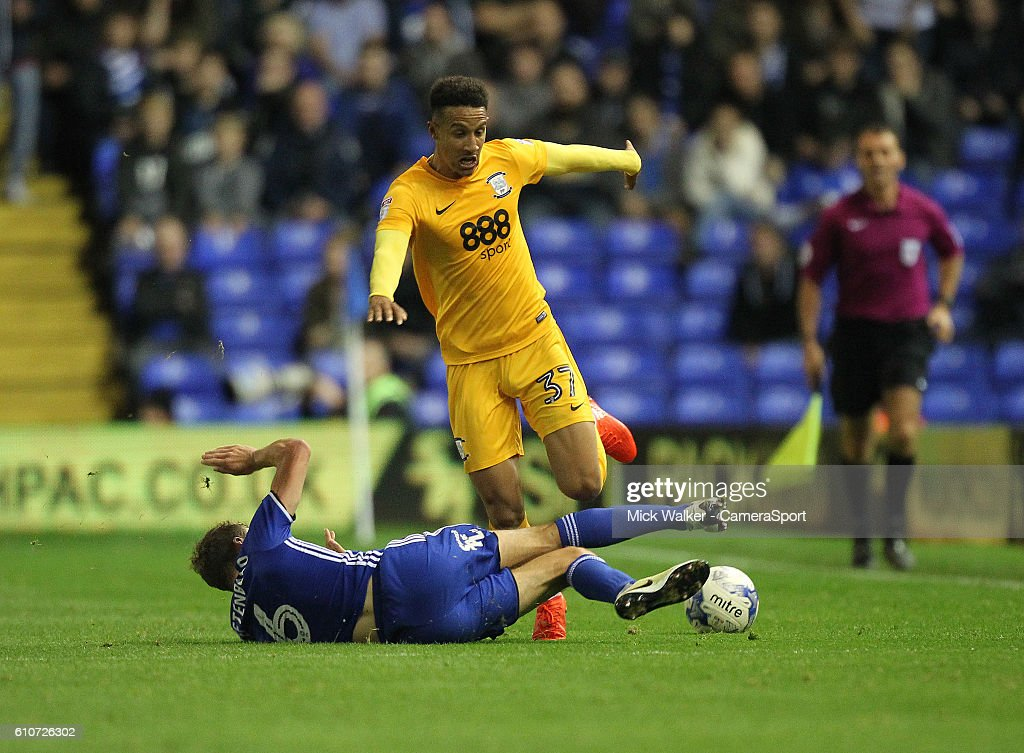 Preston North End's Callum Robinson is tackled by Birmingham City's Maikel Kieftenbeld during the Sky Bet Championship match between Birmingham City and Preston North End at St Andrews (stadium) on September 27, 2016 in Birmingham, England.
