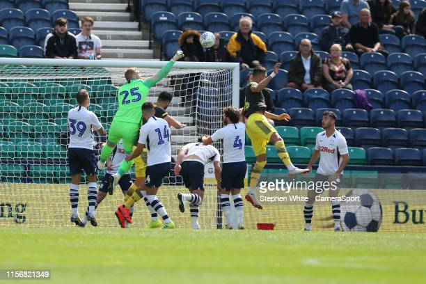 Preston North End's Connor Ripley clears during the PreSeason Friendly match between Preston North End and Southampton at Deepdale on July 20 2019 in...