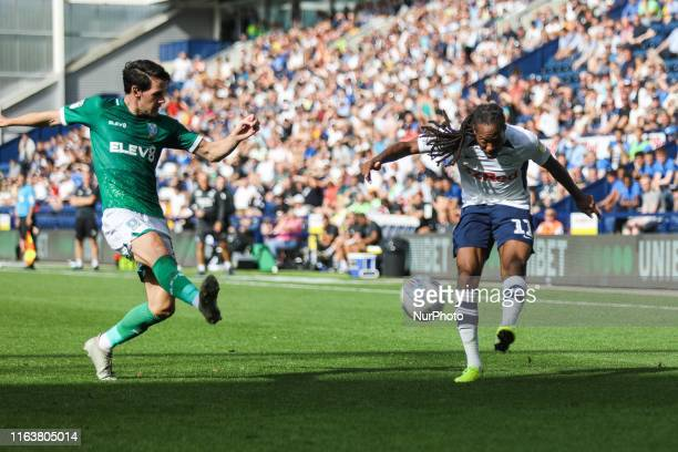 Preston North End's Daniel Johnson attempts a cross during the Sky Bet Championship match between Preston North End and Sheffield Wednesday at...