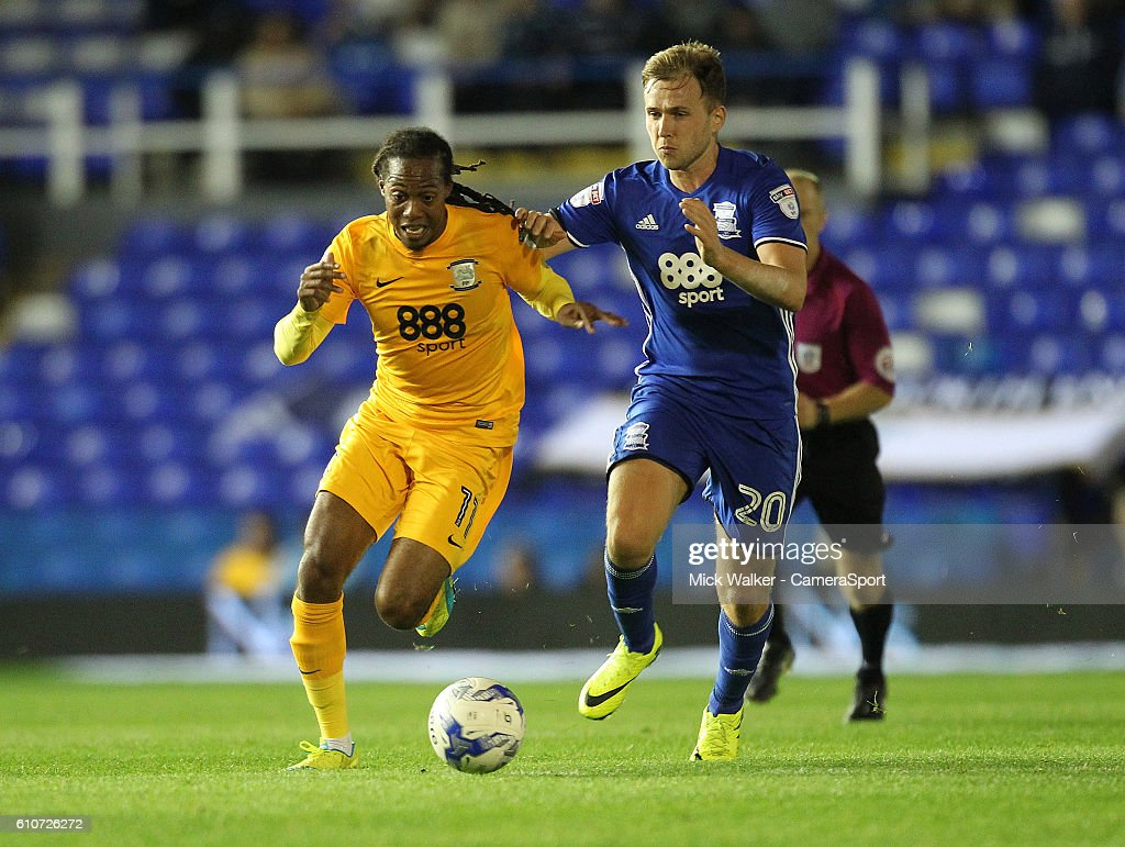 Preston North End's Daniel Johnson battles with Birmingham City's Greg Stewart during the Sky Bet Championship match between Birmingham City and Preston North End at St Andrews (stadium) on September 27, 2016 in Birmingham, England.