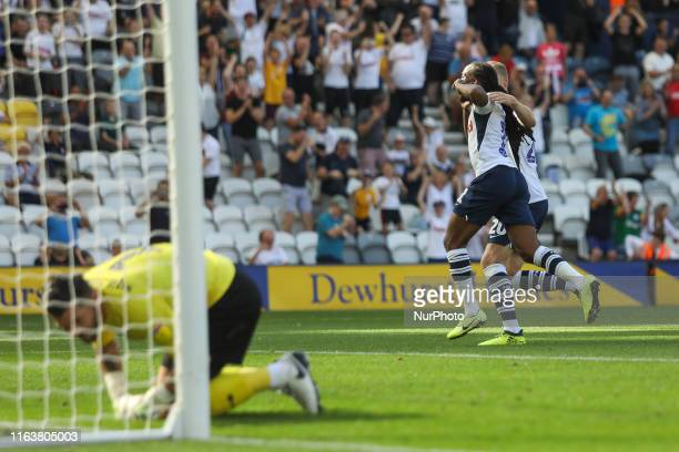 Preston North End's Daniel Johnson celebrates after scoring his sides second goal of the game from the penalty spot during the Sky Bet Championship...
