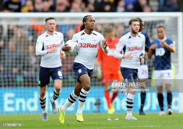 Preston North End's Daniel Johnson celebrates after scoring his side's equalising goal from the penalty spot to make the score 2 - 2 during the Sky...