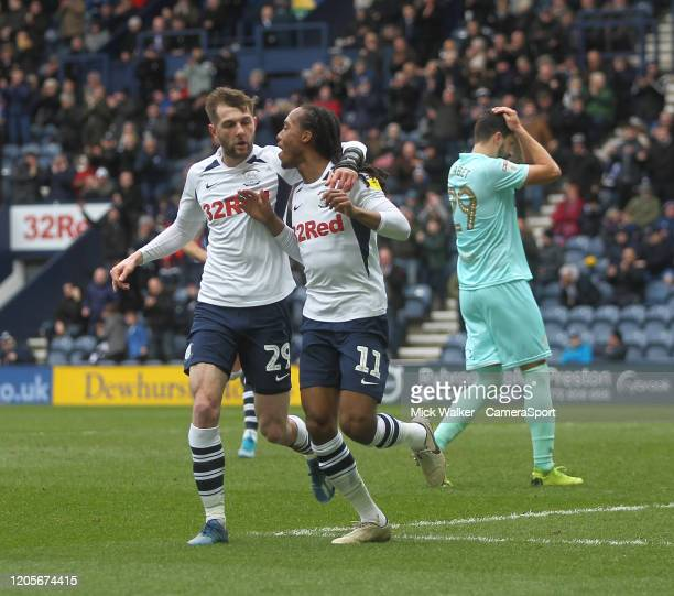 Preston North End's Daniel Johnson celebrates scoring his sides first goal during the Sky Bet Championship match between Preston North End and Queens...