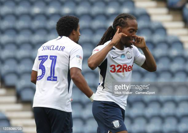 Preston North End's Daniel Johnson celebrates scoring his sides first goal during the Sky Bet Championship match between Preston North End and...