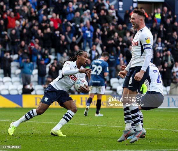 Preston North End's Daniel Johnson celebrates scoring his side's equalising goal to make the score 22 during the Sky Bet Championship match between...