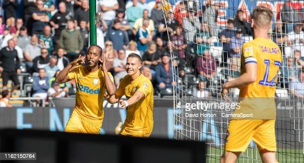 SWANSEA WALES AUGUST Preston North End's Daniel Johnson celebrates scoring his side's second goal during the Sky Bet Championship match between...