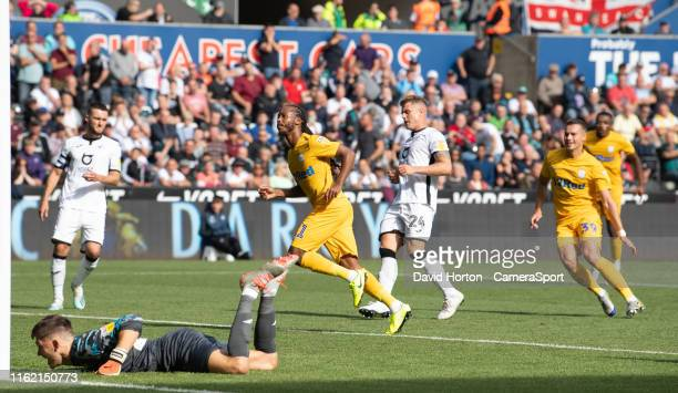 Preston North End's Daniel Johnson celebrates scoring his side's second goal during the Sky Bet Championship match between Swansea City and Preston...