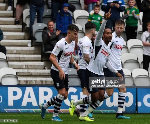 PRESTON ENGLAND SEPTEMBER Preston North End's Daniel Johnson celebrates scoring his side's second goal during the Sky Bet Championship match between...