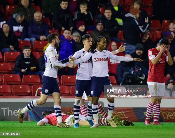 Preston North End's Daniel Johnson celebrates scoring his side's second goal with teammates during the Sky Bet Championship match between Barnsley...