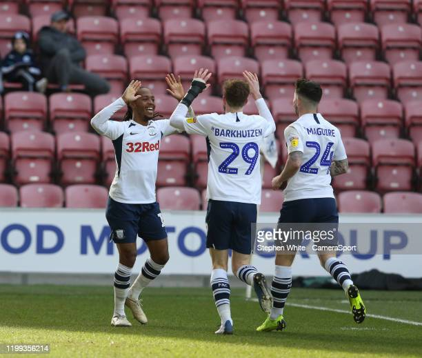 Preston North End's Daniel Johnson celebrates scoring his side's second goal with teammates Tom Barkhuizen and Sean Maguire during the Sky Bet...