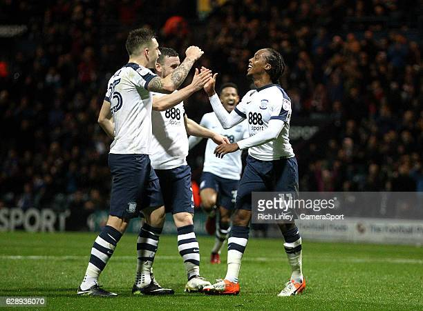 Preston North End's Daniel Johnson celebrates scoring his sides second goal from the penalty spot during the Sky Bet Championship match between...