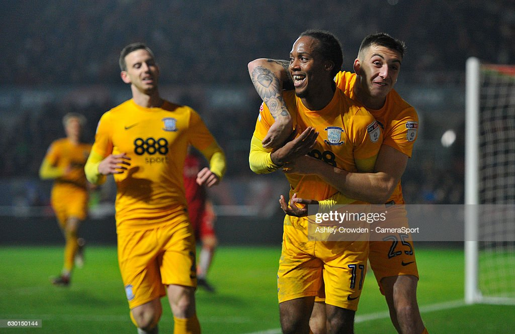 CELE - Preston North End's Daniel Johnson celebrates scoring his sides second goal with team mate Jordan Hugill during the Sky Bet Championship match between Bristol City and Preston North End at Ashton Gate on December 17, 2016 in Bristol, England.