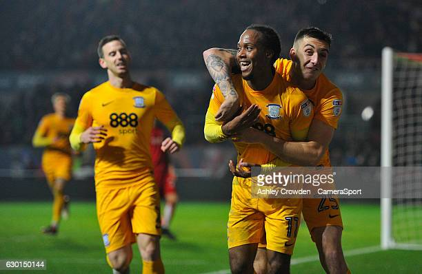 Preston North End's Daniel Johnson celebrates scoring his sides second goal with team mate Jordan Hugill during the Sky Bet Championship match...