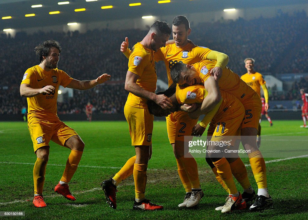 CELE - Preston North End's Daniel Johnson celebrates scoring his sides second goal with team mates during the Sky Bet Championship match between Bristol City and Preston North End at Ashton Gate on December 17, 2016 in Bristol, England.
