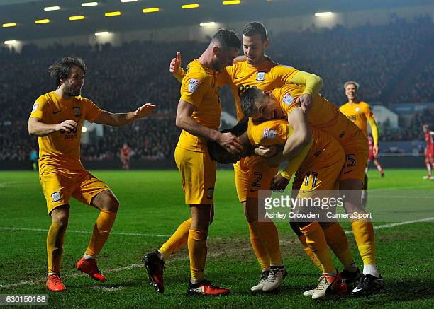 Preston North End's Daniel Johnson celebrates scoring his sides second goal with team mates during the Sky Bet Championship match between Bristol...