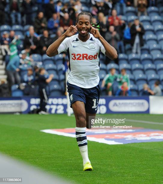 Preston North End's Daniel Johnson celebrates scoring his side's third goal during the Sky Bet Championship match between Preston North End and...