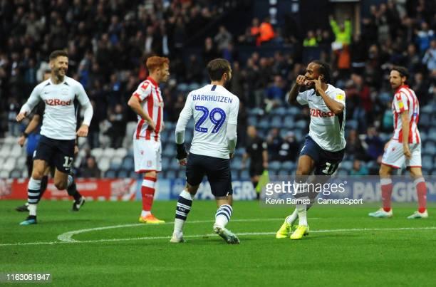 PRESTON ENGLAND AUGUST Preston North End's Daniel Johnson celebrates scoring the opening goal during the Sky Bet Championship match between Preston...