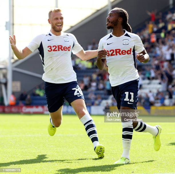 Preston North End's Daniel Johnson celebrates scoring the opening goal from the penalty spot during the Sky Bet Championship match between Preston...