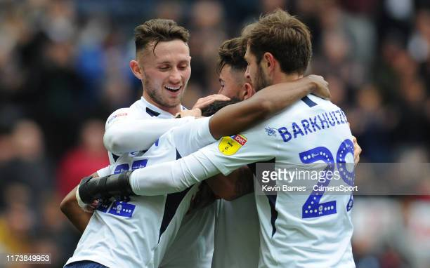Preston North End's Daniel Johnson celebrates scoring the opening goal with teammates Alan Browne Sean Maguire and Tom Barkhuizen during the Sky Bet...