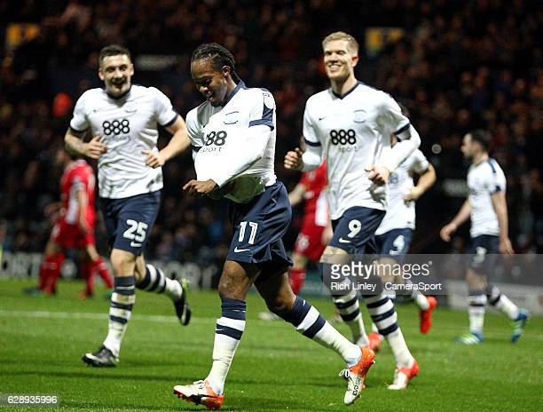 Preston North End's Daniel Johnson celebrates scoring the opening goal during the Sky Bet Championship match between Preston North End v Blackburn...
