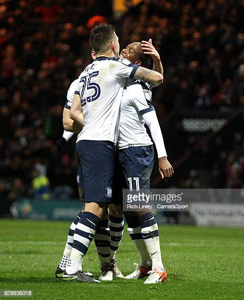 Preston North End's Daniel Johnson celebrates with team mate Jordan Hugill after scoring his sides second goal from the penalty spot during the Sky...