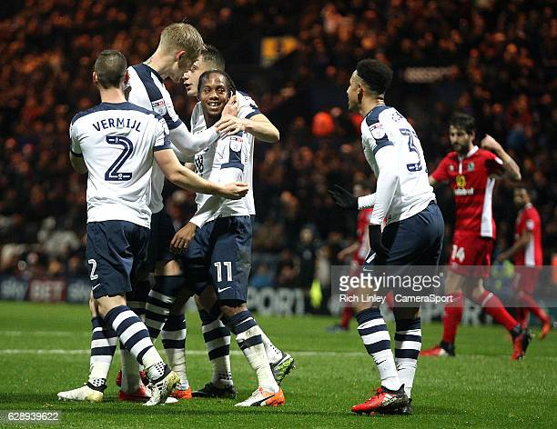 Preston North End's Daniel Johnson celebrates with team mates after scoring his sides second goal from the penalty spot during the Sky Bet...