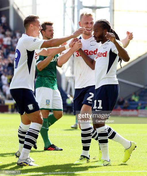 Preston North End's Daniel Johnson celebrates with team-mates after scoring the opening goal from the penalty spot during the Sky Bet Championship...