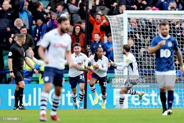 Preston North End's Daniel Johnson celebrates with team-mates after scoring his side's equalising goal from the penalty spot to make the score 2 - 2...