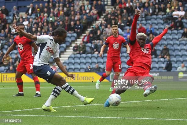 Preston North End's Daniel Johnson gets a shot on goal during the Sky Bet Championship match between Preston North End and Wigan Athletic at Deepdale...