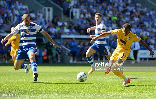 Preston North End's Daniel Johnson has an shot at goal during the EFL Sky Bet Championship match between Reading and Preston North End at the...