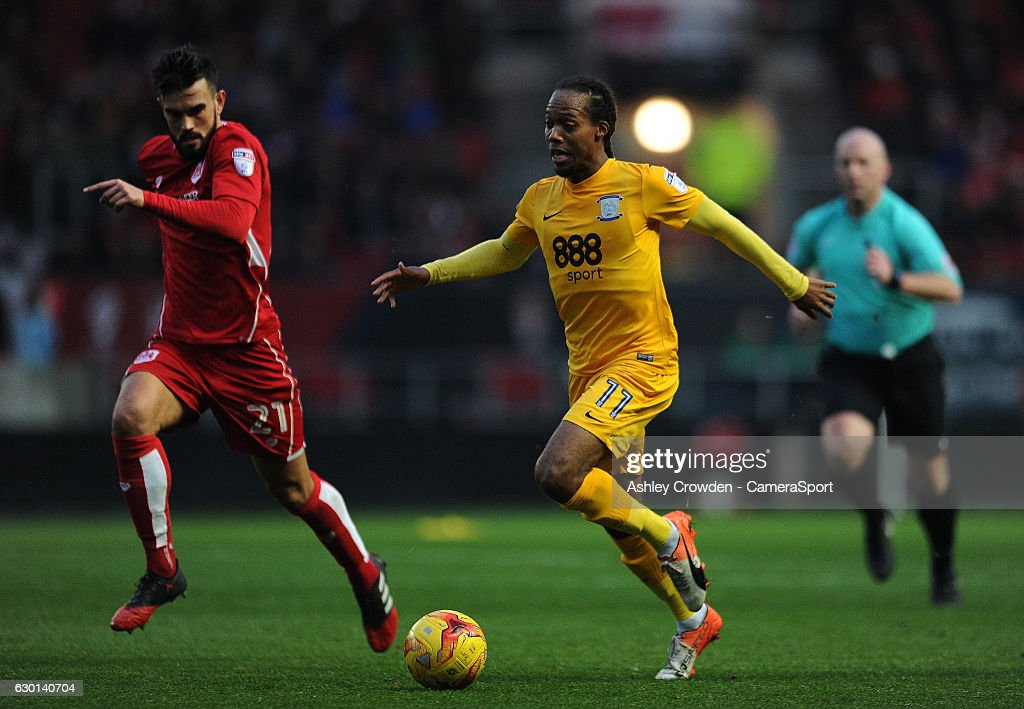 Preston North End's Daniel Johnson in action during todays match during the Sky Bet Championship match between Bristol City and Preston North End at Ashton Gate on December 17, 2016 in Bristol, England.