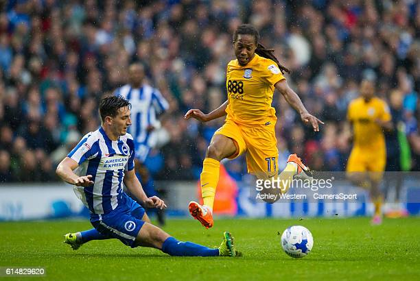 Preston North End's Daniel Johnson is tackled by Brighton & Hove Albion's Lewis Dunk during the Sky Bet Championship match between Brighton & Hove...