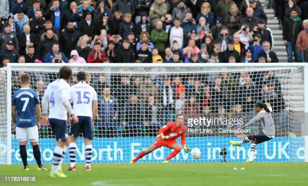 Preston North End's Daniel Johnson scores his side's equalising goal from the penalty spot to make the score 2 - 2 during the Sky Bet Championship...