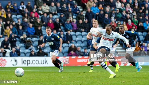 Preston North End's Daniel Johnson scores his side's equalising goal to make the score 22 during the Sky Bet Championship match between Preston North...